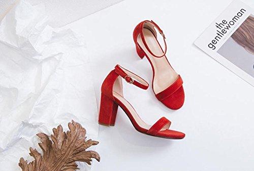 tacco Alla di selvaggi Dispositivi alta scarpe asolati Moda 39 AJUNR Rosso fissaggio Toe Donna Sandali 8cm con grossolana Da Peep ad xwqtqYHX