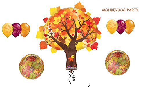 9pc AUTUMN TREE & LEAF leaves BALLOON set PARTY happy -