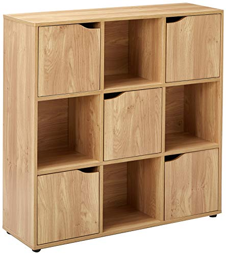 Home Basics Cube Shelves Natural Wood Shelf with Doors, Room, Clothes Storage, Home Décor, Bookshelf, Toy Organizer Home & Office - 4 Open/5 Cabinet-Style (9 C