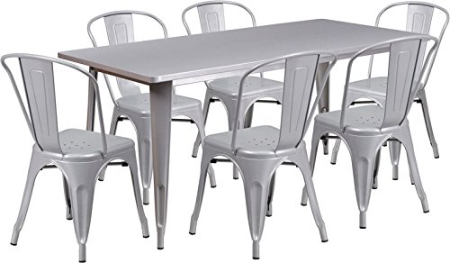 31.5''x63'' Rectangle Silver Metal Indoor-Outdoor Restaurant Table Set w/6 Chair