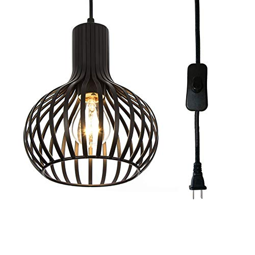 Riomasee Industrial Wire Cage Plug in Pendant Light 14.27 Ft Hanging Light Cord with On/Off Switch,Vintage Black Metal Hanging Lamp (Pendant Wire Cage)