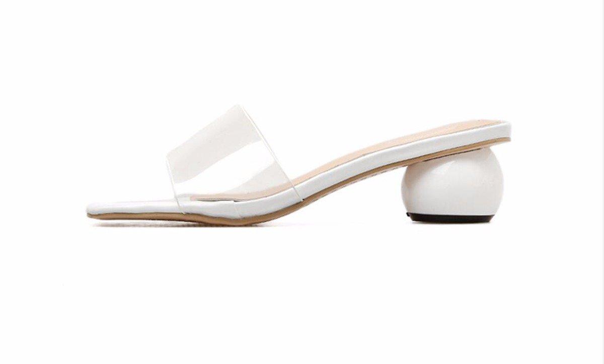HBDLH Damenschuhe Sommer Damenschuhe Temperament Temperament Temperament Mode Glas Kleben Transparent Eine Art Pantoffeln Beliebt Rau Cool Ziehen baad94