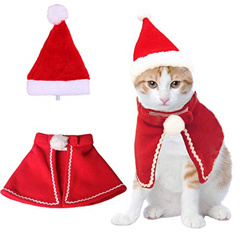 Christmas Cat Plush Santa Hat Cloak Scarf Dog Pet Cosplay Costume Xmas Kitten Puppy Red Caps Collar Manteau Velvet Clothing Clothes Funny Birthday Party Mantle Dress Up Apparel Holiday Costume Size L ()