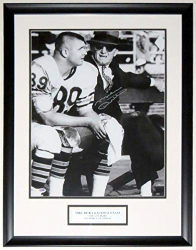 (Mike Ditka Signed Chicago Bears 16x20 Photo with George Halas - PSA DNA COA Authenticated - Professionally Framed & Plate)