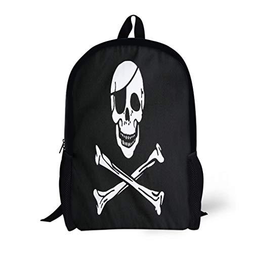 Pinbeam Backpack Travel Daypack Jolly Pirate Flag Closeup Roger Skull Patch Eye Waterproof School Bag ()