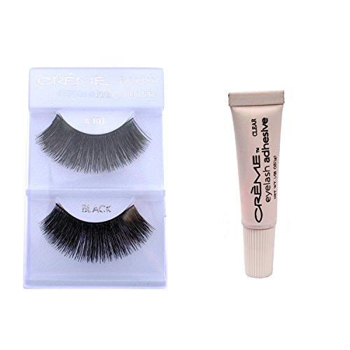 24 Pairs Crème 100% Human Hair Natural False Eyelash Extensions # 101 ,Free Gift (Creme Eyelashes 101)