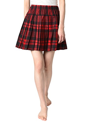 JustinCostume Women's Plaid Pleated Skirt School Girl Costume 2X Red