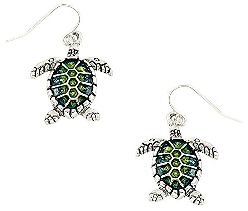 [Cute Green/Blue Sea Turtle Charm Dangle Earrings Gift for Women and Teens] (Little Mermaid Sister Costumes)