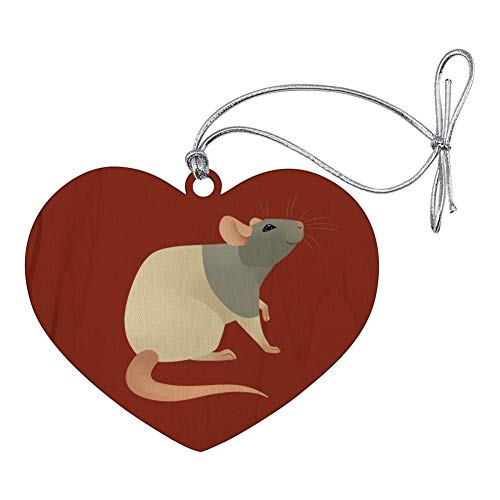 GRAPHICS & MORE Hooded Rat Heart Love Wood Christmas Tree Holiday Ornament -