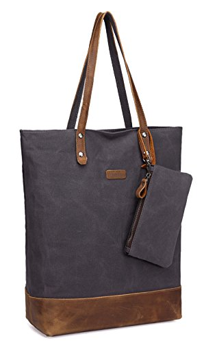 Leather Canvas Tote,Vaschy Soft Cotton Vintage Large Shopper Work Tote for Women Grey ()