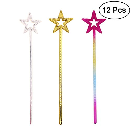 TOYMYTOY Princess Wands Star Shape Wands With Beads For Kids Cosplay PartySupplies,12pcs