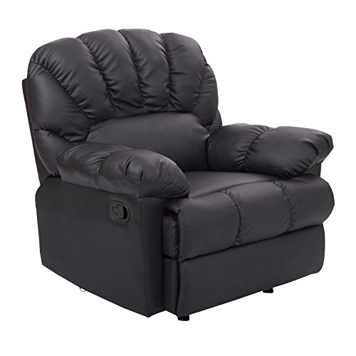 Modern Black Vinyl Leather Home Theater Recliner