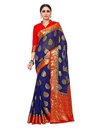 KUPINDA Kanjivaram Style Chiffon Saree Color: Blue (4185-2179-2D-NVY-RD)