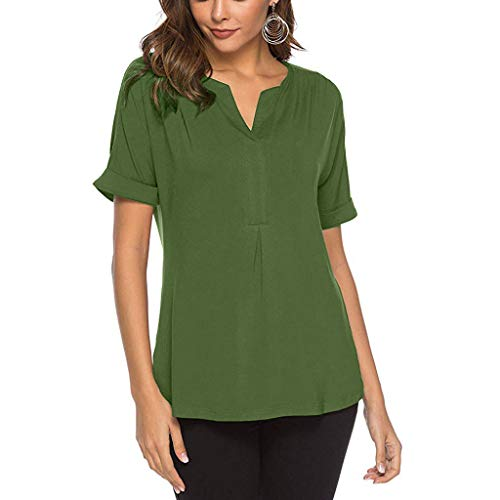 PENGYGY Woman Waffle Knit Blouse Top V-Neck Henley Tops Ladies Loose Fitting Plain Shirts Green -
