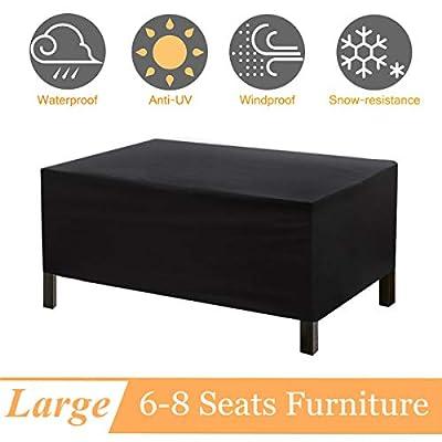 NASUM Patio Furniture Cover, Rectangular Patio Table Cover, Patio Table and Chair Covers, Tear-Resistant, UV Resistant, Durable Waterproof Dustproof Outdoor Cover for Garden