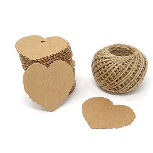 honbay 100piezas de papel Kraft etiquetas de corazón en blanco con 100pies de cuerda de yute para DIY manualidades y...