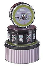 Premier Housewares Happy Búhos Boîtes de rangement - Petite Boîte Ronde de Stockage - Boîte de conservación - Lote de 3