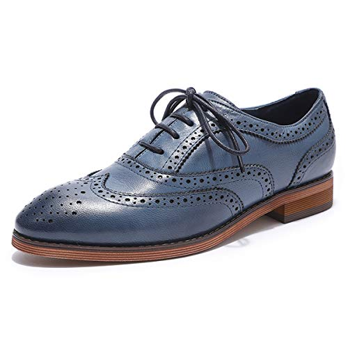 MIKCON Women's Leather Perforated Lace-up Oxfords Shoes for Women Wingtip Multicolor Brougue Shoes by MIKCON