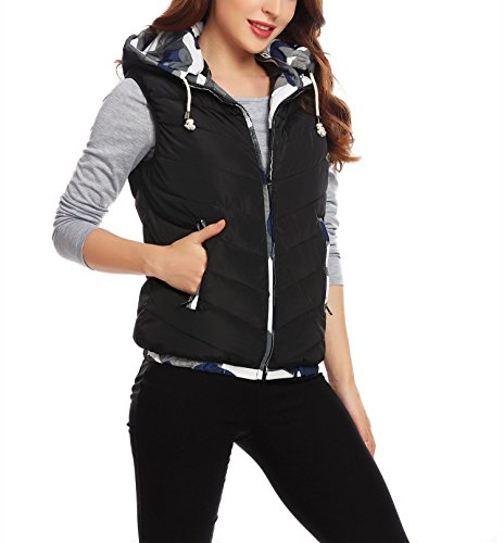 Winter Hooded Sleeveless Down Sweater Vest with Zipper for Women Men Boys Girls (Medium, Black)
