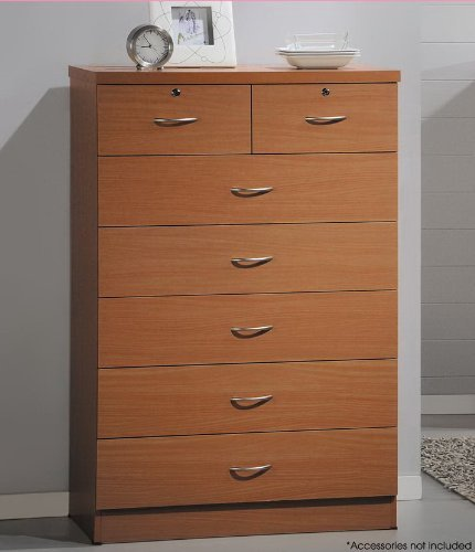 Hodedah 7 Drawer Chest, Five Large Drawers, Two Smaller Drawers with Two Locks, Cherry - Cherry Wide Vanity