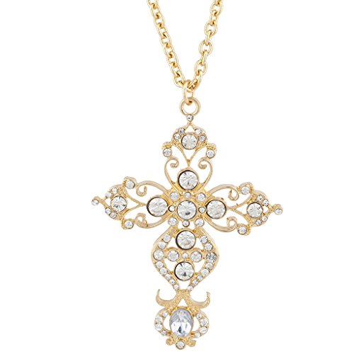 Lux Accessories Gold Tone Rhinestone Crystal Filigree Cross Pendant Necklace