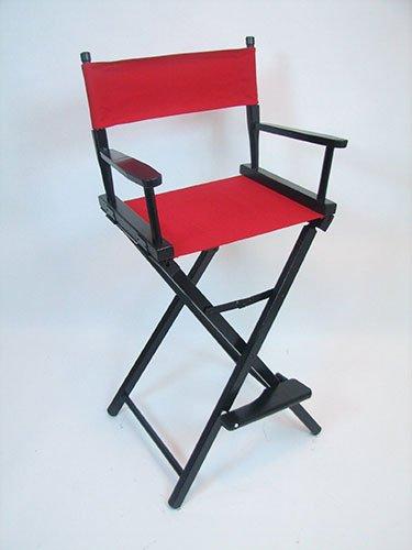 Gold Medal 30u0026quot; Bar Height Black Frame Directors Chair ...