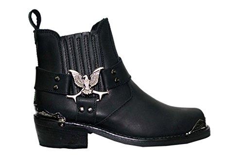 Grinders Herren Schwarz Biker-Stil Cowboy Boots Adler Lo westlichen Lederstiefel
