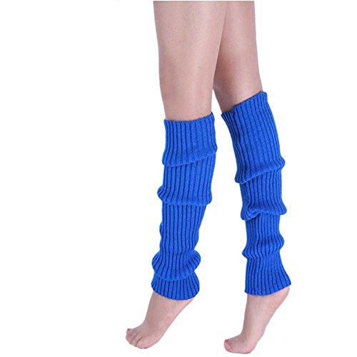 Song Girls Teen 80s Dance Plain Ribbed Women Knit Crochet Long Leg Warmers Fancy Dress Royal blue
