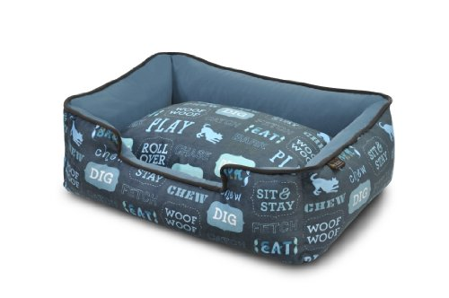P.L.A.Y. Pet Lifestyle and You Dog's Life Dark Blue Lounge Bed, Medium