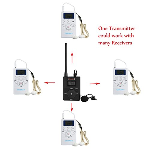 EXMAX 60-108MHz Portable DSP Stereo Wireless Headsets FM Radio Broadcast System for Tour Guide Teaching Meeting Training Travel Field Interpretation - 1 Transmitter and 30 Receivers White by EXMAX (Image #8)