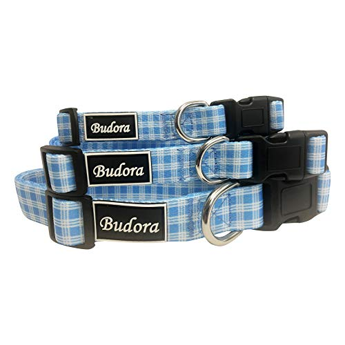 - Budora Direct 4 Design Checkered Pattern Red, Baby Blue, Pink, Black, Playful Puppy Senior Male Female Cute Adjustable Pet, Dog, Cat Collars (Large, Blue)