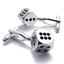 Konov Jewelry 2pcs Classic Novelty Personalized Lucky Dice Shirts Mens Cufflinks, Silver Black, 1 Pair, with Gift Bag, C21576