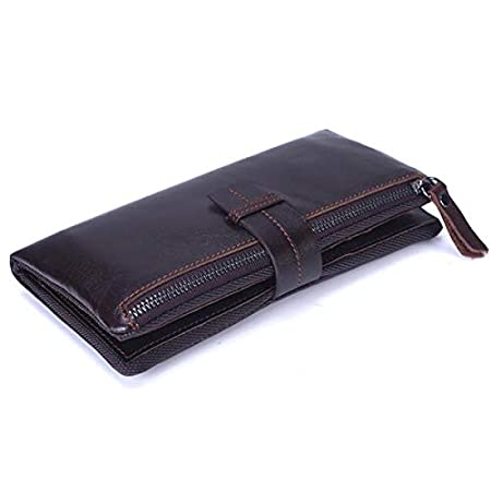 HerrosV Men Genuine Leather Long Wallet Vintage Card Holder Wallet Coolest Wallet