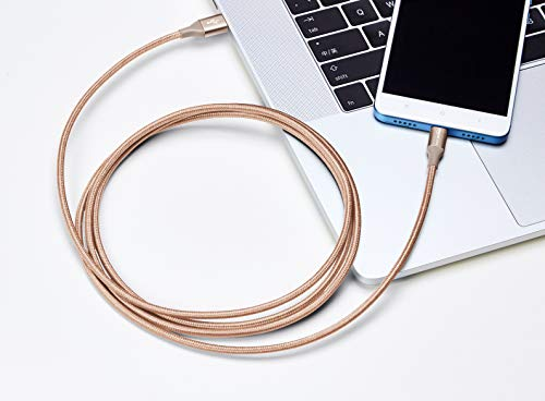 AmazonBasics Double Braided Nylon USB Type-C to Micro-B 2.0 Male Cable | 6 feet, Gold by AmazonBasics (Image #1)