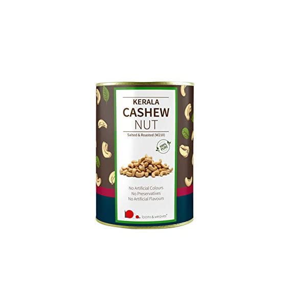 looms & weaves - Premium Quality Cashew (W 210) from Kerala - ( Salted & Roasted) - 500 gm
