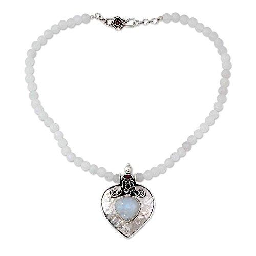 NOVICA Multi-Gem Moonstone - Rainbow .925 Sterling Silver Pendant Necklace, 18