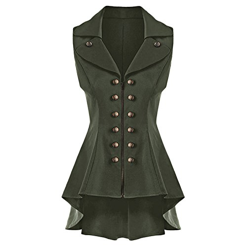 Desirca Long Vest Coat Women Sleeveless Lapel High Low Dressy Waistcoat Solid Vest Jacket Ladies Office Coat Colete