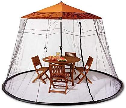 9フィート屋外傘テーブル画面ジッパー蚊バグ昆虫ネットメッシュガーデン、ポリエステル網、単一のドア、持ち運びが簡単、軽量