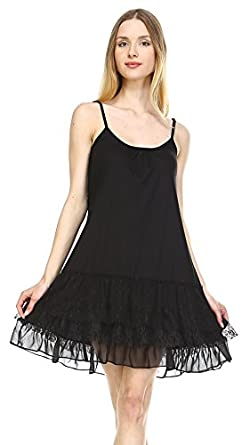 Shop Lev] Women's Knit Full Slip with 3 combo ruffle layers at Amazon