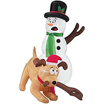 Christmas Inflatable 4' LED Snowman and Dog Whimsical Decoration By Gemmy New for 2016