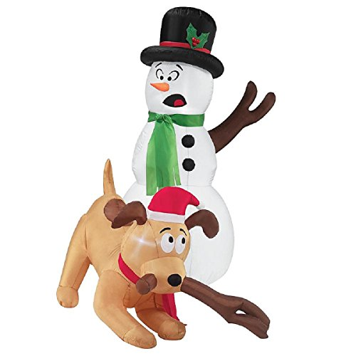 Christmas Blow Up Decorations For Outdoors - Christmas Inflatable 4' LED Snowman and Dog Whimsical Decoration By Gemmy New for 2016