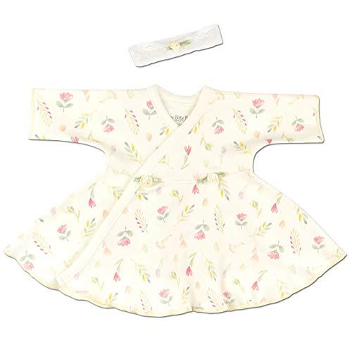 Itty Bitty Baby Ruffled NICU Dress with Headband - NICU Friendly (Vintage Garden, Preterm 3 (3-5lbs)) ()