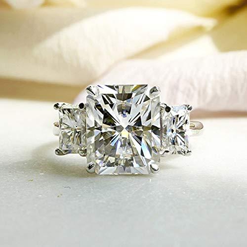 6 3/4 Carat TGW Three Stone Radiant Cut Moissanite Statement Engagement Ring in 14k White Gold, 6