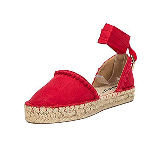 Holiday Womens Sandals (LALA IKAI Women Lace up Espadrille Flats Side Cutout Ankle Strap Holiday Sandals with Pompon Chili Red 9.5)