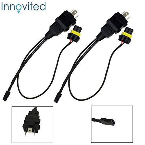 Innovited (2) Easy Relay Harness For H4 9003 Hi/Lo Bi-Xenon HID Conversion Kit Xenon Bulbs Wiring Controllers (Xenon H4)