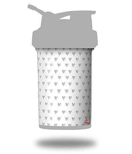 Hearts Gray - Decal Style Skin Wrap fits Blender Bottle 22oz ProStak (BOTTLE NOT INCLUDED) ()