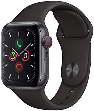 Apple Watch Series 5 GPS + Cellular – 40mm black stainless steel case with black sports band (renewed)