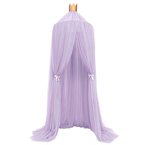 Beds For Bedding Canopy (Kids Baby Princess Mosquito Net Bed Canopy with Round Lace Dome Children Playing Reading canopy Tent Netting Curtains)
