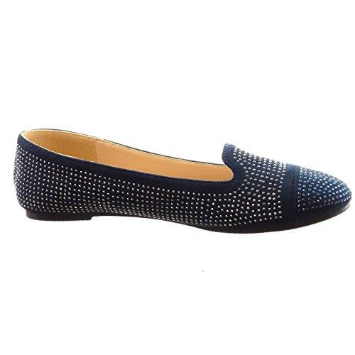 Sopily - Scarpe da Moda ballerina alla caviglia donna strass Tacco a blocco 0.5 CM - Blu