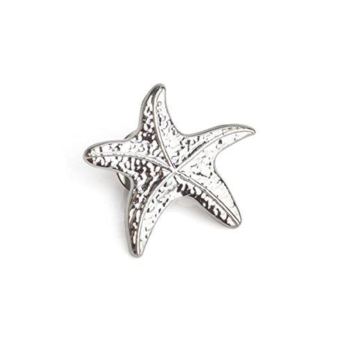 "(Price/25PCS) ALICE 3D Cast Starfish Lapel Pins,1"" - Silver"
